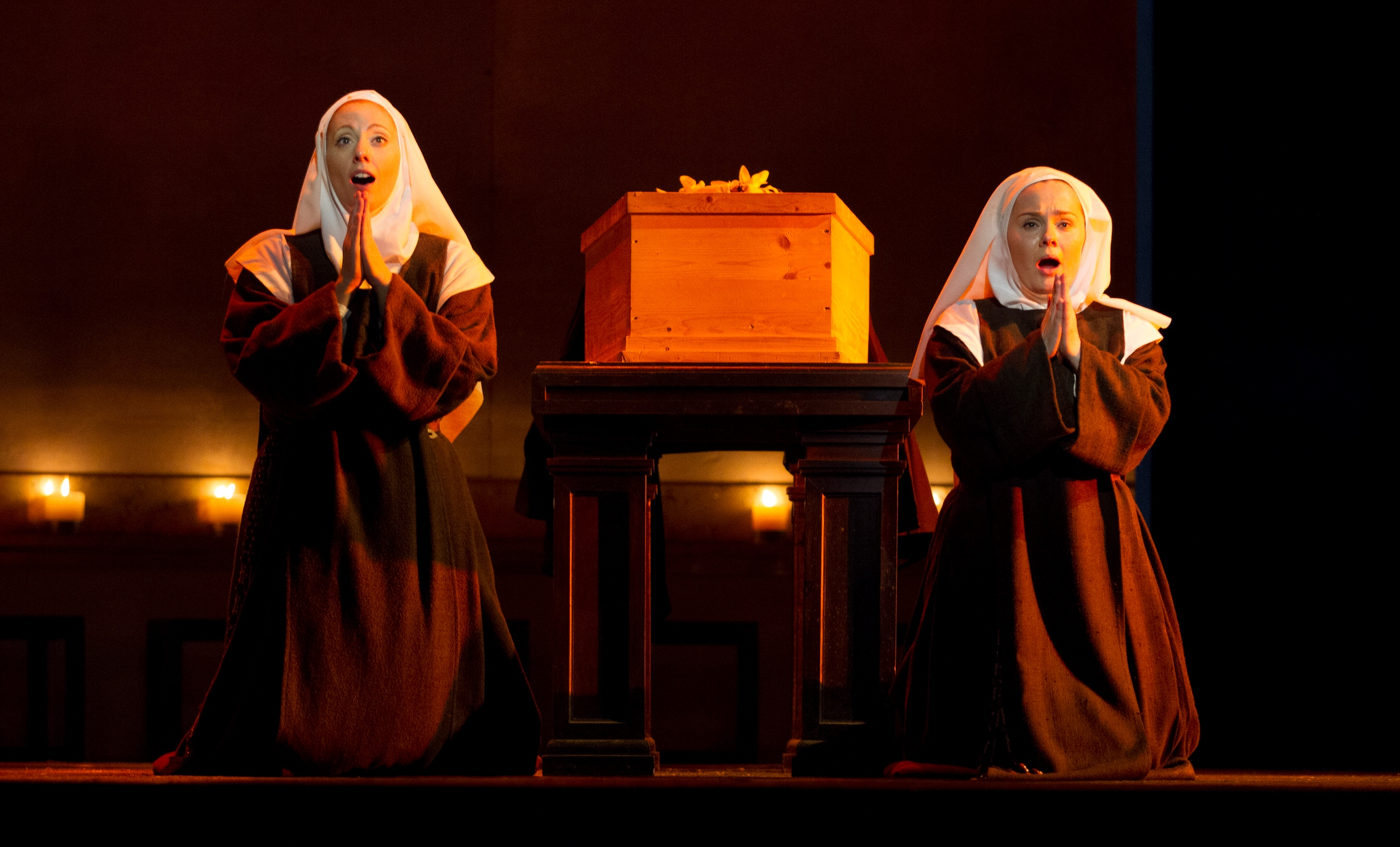 Layla Claire as Blanche de la Force and Ashley Emerson as Sister Constance. Photo by Scott Suchman for Washington National Opera.
